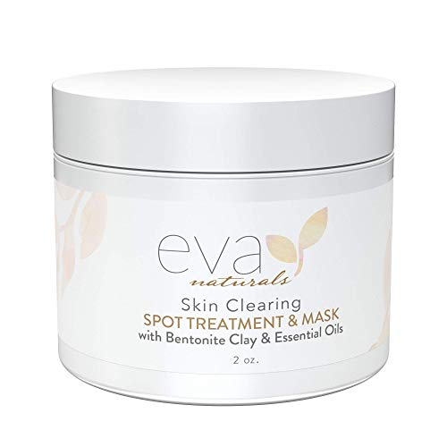 Skin Clearing Acne Spot Treatment and Face Mask – Natural and Fast-Acting Witch Hazel, Bentonite Clay, and Kaolin Clay Mask Helps Clear and Prevent Adult and Teen Breakouts by Eva Naturals, 2 oz.