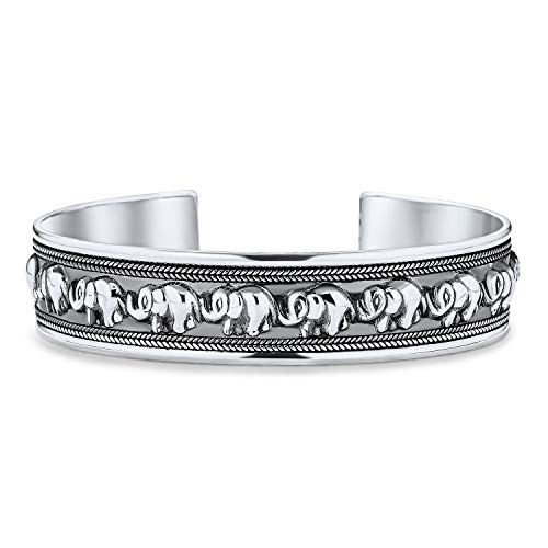 Bali Style Good Luck Elephant Bangle Cuff Bracelet For Women Solid Heavy Antiqued 925 Sterling Silver