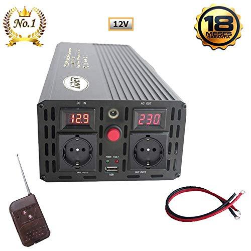 LIDER.- 1500W,Pico3000W Inversor de Corriente Onda sinusoidad modificada, Transformador de DC 12V a AC 220V, con Puerto USB, Pantalla LCD y contror Remoto inalámbrico