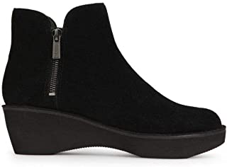 Kenneth Cole REACTION Women's Prime Platform Bootie with Side Zip Ankle Boot, Black Suede, 6.5 M US