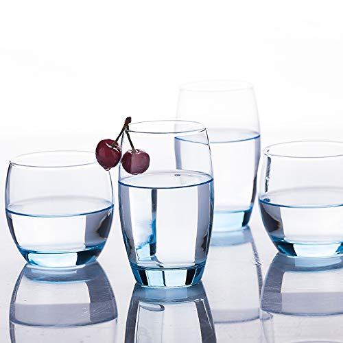 Copa De Bebida,Taza Sin Alcohol De Vidrio Sin Plomo Taza De Bebida Taza De Cerveza Corta Transparente 6 Paquetes (320 Ml), Azul Corto 6 (320 Ml)