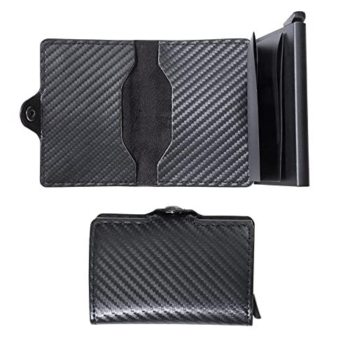 Tarjeteros para Tarjetas de Credito con Bolsillo Cartera de Aluminio Automática Pop-up Monedero Protección Bloqueo RFID y NFC para Hombre Mujer 10*6.7*2 cm