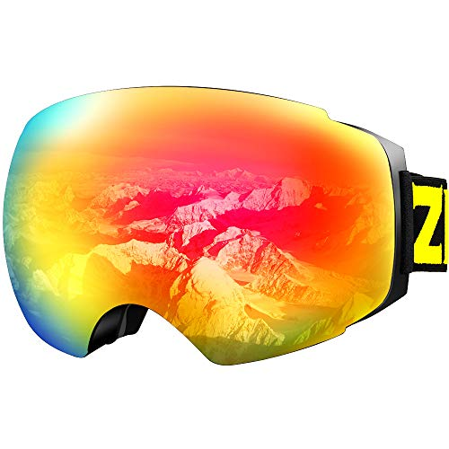 ZIONOR X4 Ski Snowboard Snow Goggles Magnet Dual Layers Lens Spherical Design Anti-Fog UV Protection Anti-Slip Strap for Men Women (VLT 16.87% Black Frame Revo Red Lens)
