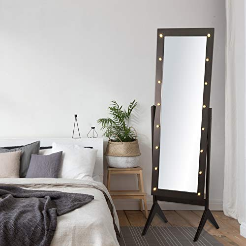 eHomeProducts Espresso Brown Finish LED Lights Wooden Cheval Bedroom Floor Mirror Stand Hollywood Makeup Mirror