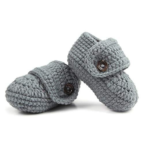 1 par Lindos bebés cómodos niños pequeños Suaves Punto Crochet Zapatos de Cuna Caminar Calcetines Gris