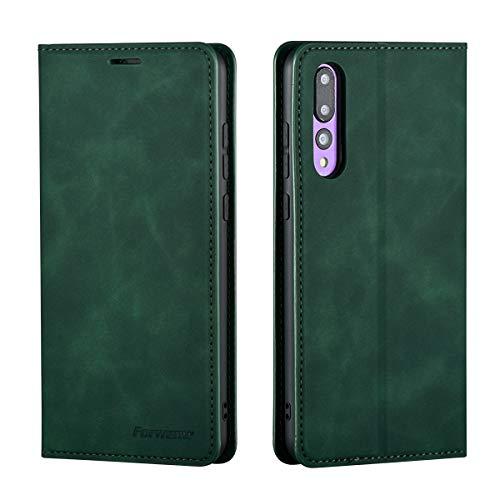 QLTYPRI Hülle für Huawei P20, Premium Dünne Ledertasche Handyhülle mit Kartenfach Ständer Flip Schutzhülle Kompatibel mit Huawei P20 - Grün