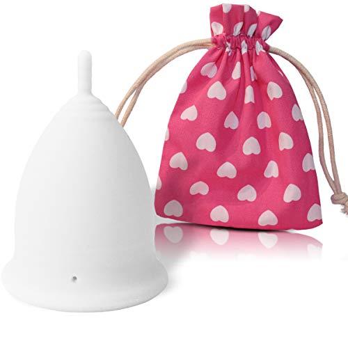 Copa Menstrual CozyCup CLASSIC - Hecha de Silicona de Grado Médico (blanco, grande)