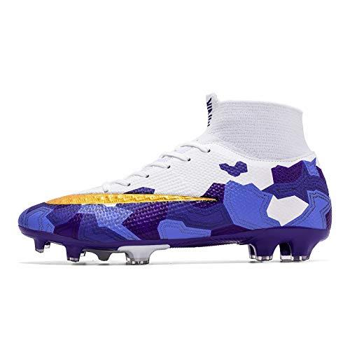HongHe Botas de fútbol para Hombre Tacos Zapatos de fútbol con Clavos Profesionales Zapatillas de Deporte para niños de competición/Entrenamiento(39, Purple)