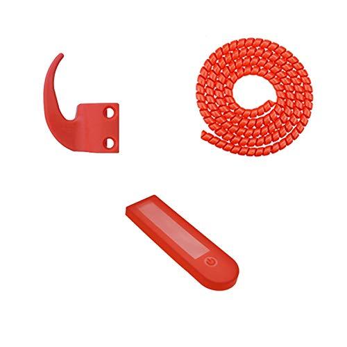 Fauge 1 Juego de Gancho y Cubierta de Nailon para Tablero de Instrumentos Percha para Accesorios de Scooter EléCtrico MAX G30 Rojo
