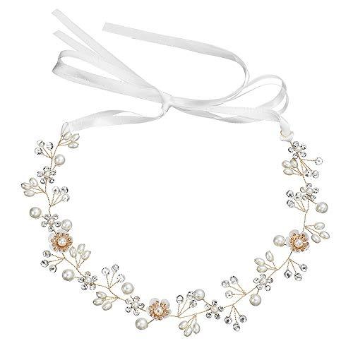 Corona Señoras Chicas Corona Rhinestone Faux Elegante Diadema nupcial Perlas Flores Tocado Tocados…