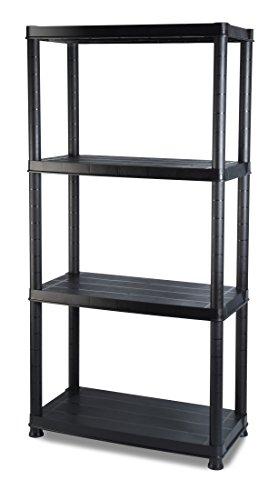 Addis 5-Shelf Aufbewahrung, schwarz, Plastik, schwarz, 30,5 cm