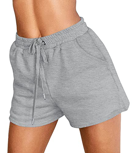 ZESICA Womens Comfy Sweat Shorts Summer Elastic Drawstring Waist Athletic Workout Beach Shorts with Pockets