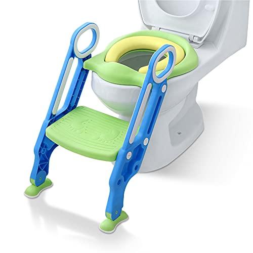 NAIZY Toilettensitz Kinder mit Treppe Faltbar Töpfchentrainer Höhenverstellbar WC Trainer mit PU Gepolstert Kissen und Griffen Töpfchen für Kinder von 1-7 Jahren Kleinkinder - Blau und Grün