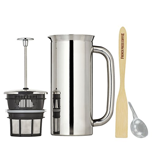 Espro Press P7, Stainless Steel French Press, Double Wall, Vacuum Insulated (6-8 cups, 32 ounce, Polished) Bundle with Handcrafted Bamboo Paddle, Coffee Scoop