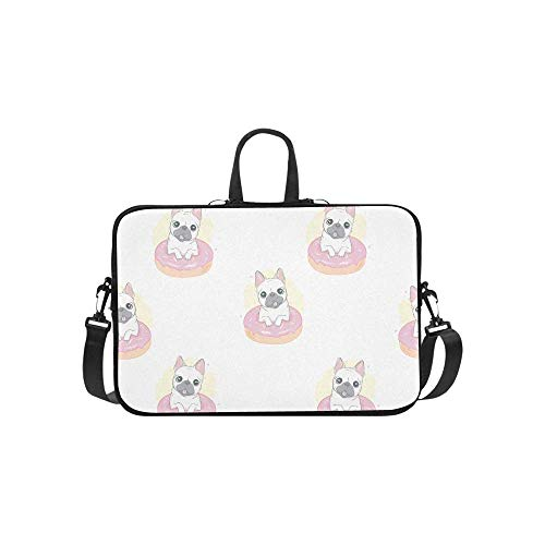 15.6″Lightweight Laptop Notebook Shoulder Backpack Bag Dog French Bulldog Donut Waterproof PC Briefcase Messenger with Strap