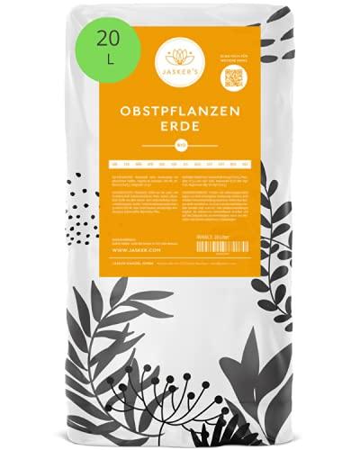 Jasker's Bio Erde für Obstpflanzen und Bäume | Beerenerde für Obstbäume mit Dünger und Wurzelaktivator (Obsterde, 20 L)