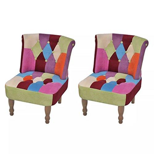 XINGLIEU - Sedia relax, 2 pezzi Poltrona da soggiorno in tessuto patchwork, 52 x 64 x 70 cm