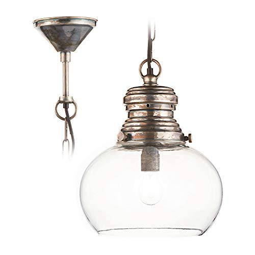 Loberon Hängelampe Jule, Messing, Glas, Messing, H/Ø 36/30 cm, antiksilber/klar, E27, max. 40 Watt, A++ bis E