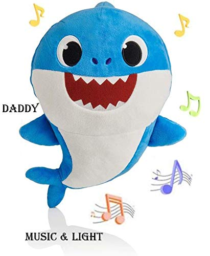 EXPRESS TRADE Baby Singing Shark Plush Toy Musical Sound Soft Cartoon Doll Full Song for Kids Childrens Gift (Blue)