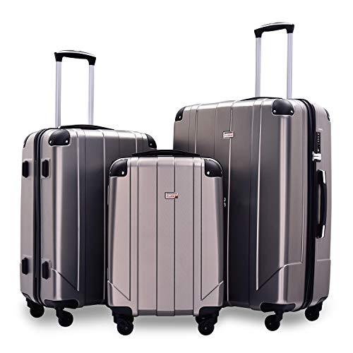 Zebery Juego de maleta, maleta de viaje de carcasa rígida con cerradura TSA y asas, Gray (Gris) - ORDE-PP193247HAA