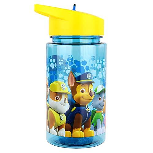 P:os 28230 - Trinkflasche für Kinder, ca. 450 ml, transprentes Design mit Paw Patrol Motiv und integriertem Strohhalm zum Hochklappen, aus Kunststoff, bpa- und phthalatfrei