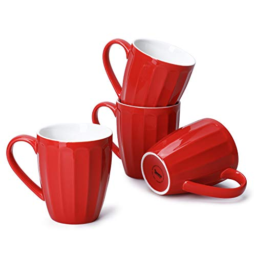 Sweese 602.104 Porcelain Fluted Mugs - 14 Ounce Coffee Cup Set for Coffee, Tea, Cocoa, Set of 4, Red
