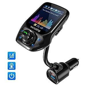 【Detecta Frecuencia Libre de Forma Automática】Transmisor FM Bluetooth Coche Manos Libres VicTsing, Transmisor Bluetooth Coche Mechero Ahorra 50% de Tiempo,1.8