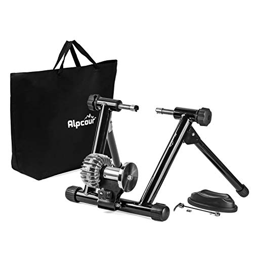 Alpcour Fluid Bike Trainer Stand – Portable Stainless Steel Indoor Trainer w/Fluid Flywheel, Noise Reduction, Progressive Resistance, Dual-Lock System – Stationary Exercise for Road & Mountain Bikes