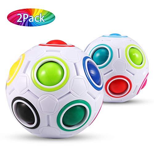 KNMY Magic Ball, 2 Stück Regenbogenball Zauberwürfel 3D Puzzle Ball Würfel Stressball Pädagogische Spielzeug für Erwachsene Kinder Jungen Mädchen Geburtstag Geschenkideen
