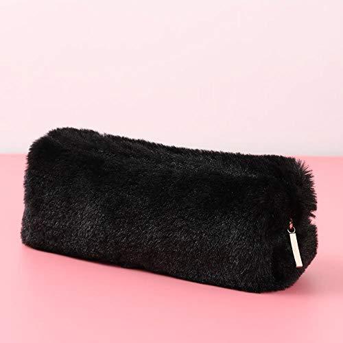Pencil Box Girl Plush Pen Student Storage Bag,Black