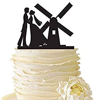 PotteLove Personalised Dancing Couple With Windmill Mr & Mrs Wedding Cake Topper - Bride & Groom Wedding Cake Topper - Mirror Gold Glitter Acrylic Cake Topper For Wedding Party Decoration