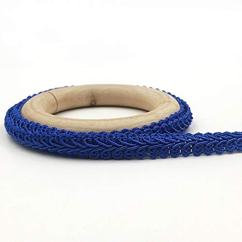 TINGS 5Meter 12mm Curve Cotton Lace Trim Centipede Braided Ribbon Fabric HandmadeClothes Sewing Supplies Craft Accessories,Royal Blue