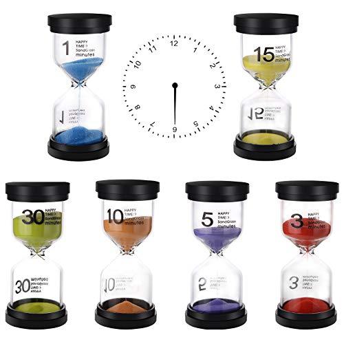 6 Pièces Sabliers Horloge de Sable Sablier pour enfants Minuteur de compte à rebours 1、3、5、10、15、30 Minutes pour brossage de Dents Douche Enfants Jouet Cadeaux Cuisine Bureau A Domicile Deco