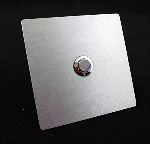 Eurosell - V2A Design RVS belplaat Belplaat Vierkant afgerond zilver bel knop knop deurbel bel - met of zonder LED-verlichting modern Montage mit Silikon - Platte ohne Bohrung zilver