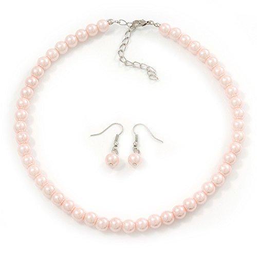 Avalaya - Parure composta da collana e orecchini pendenti in metallo argentato, lunghezza 38 cm, lunghezza 4 cm, colore: Rosa pallido