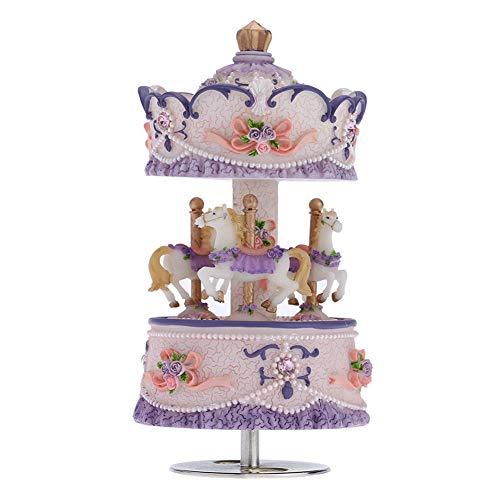 BGFBHTY Caja de música Carrusel de 3 Caballos Caja de música Artware/Gift Melody Castle In The Sky Rosa/Púrpura/Azul/Dorado Opcional