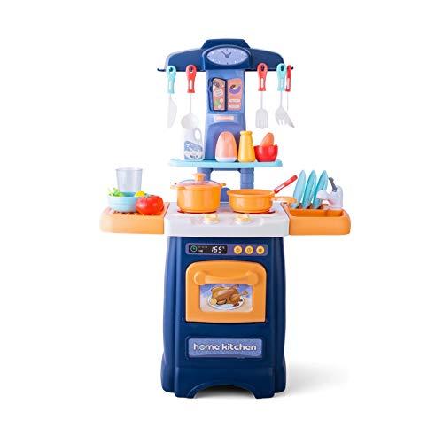 JoyKip i Bambini fingono di Giocare Set da Cucina - Playset da Cucina con luci e Suoni - Pentole, lavello, fingono di Giocare al Forno e Altri Accessori da Cucina Giocattoli per Ragazze e Ragazzi