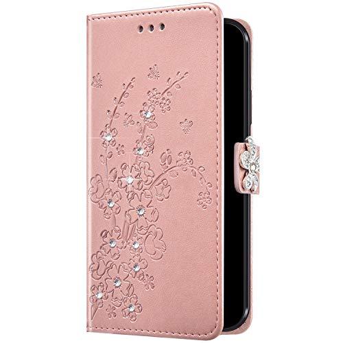 Uposao - Funda de piel para Samsung Galaxy A51, diseño de flores, cierre magnético, tarjetero, color oro rosa