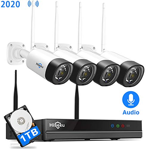 【8Channel,Audio】 Hiseeu Wireless Security Camera System,4Pcs 1080P Cameras 8Channel...