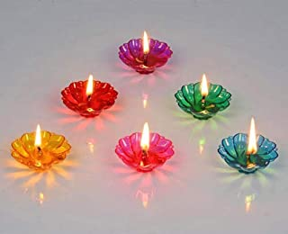 Ascension ® 12 Designer Transparent Diya Deepak Special Reusable Diya Colourful Reflection Diya Combo Sai Diya Deepak Sai ...