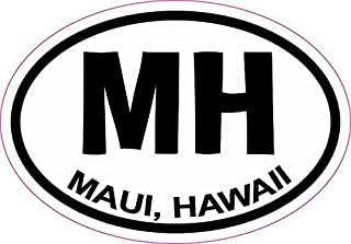 a110005b3 StickerTalk 3in x 2in Oval MH Maui Hawaii Sticker Vinyl Travel Decal Hobby  Stickers