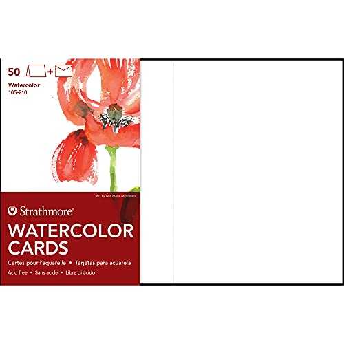 Strathmore 105-210-1 Watercolor Cards, Cold Press, 5' x 6.875', 50 Envelopes, Cards & Envelopes , White
