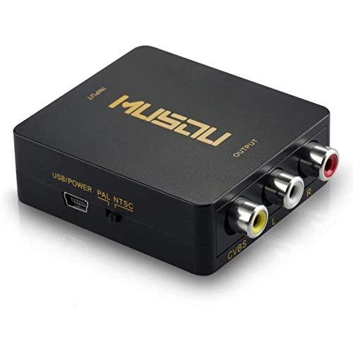 Musou 1080P HDMI vers 3RCA Convertisseur Composite CVBS Vidéo Audio Adaptateur AV