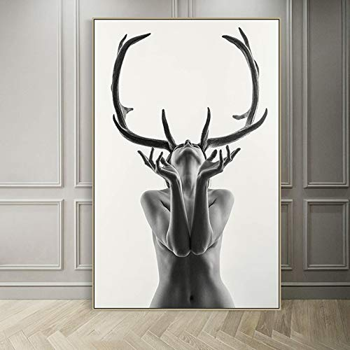 N / A Nordic simple black and white antler female model abstract canvas painting art print poster wall picture for home decoration 50x70CM NO frame
