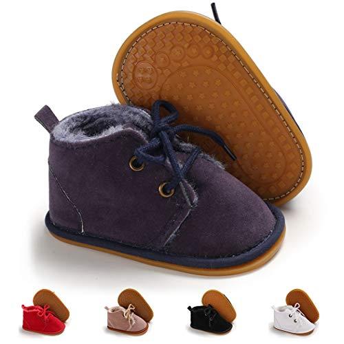 Infant Boots Winter Baby Girl Boy Shoes Rubber Sole Anti-Slip Toddler Snow Warm Prewalker Newborn Boots(12-18 Months M US Toddler,A-Dark Blue)