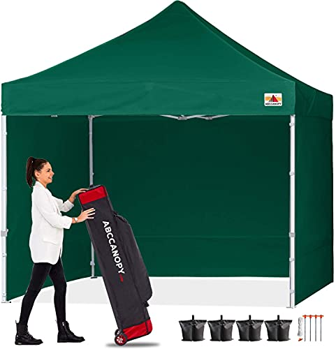 ABCCANOPY Pop-Up-Pavillon mit Seitenteilen und Türverkleidung, sofortiger Schatten und blockiert Regen, Bonus Upgrade Rolltasche, 4 Gewichtstaschen, Heringe und Seile