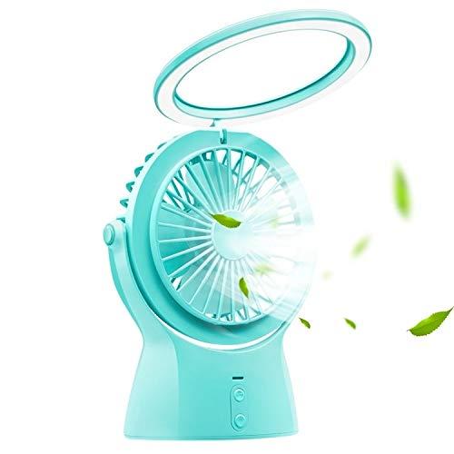HUANGCAIXIA Ventilador de Mano Mini Fan S1 multifunción portátil de Carga USB Silencio de Escritorio del Ventilador eléctrico de la lámpara de Tabla, con 3 Control de Velocidad (Color : Mint Green)