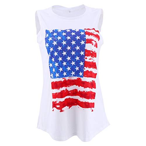 LUOEM Amerikanische Flagge Weste Baumwolle Unabhängigkeit Tag Ärmellose Weste Lose Stern Streifen T-Shirts für Patriotische Frauen Sommer Freizeit Outfits Kleidung Versorgung (Weiße