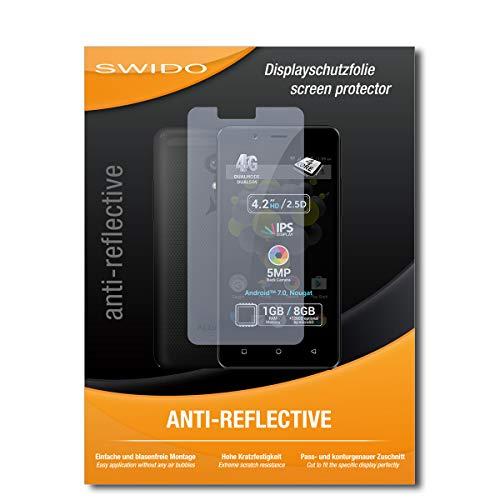 SWIDO Schutzfolie für Allview P4 Pro [2 Stück] Anti-Reflex MATT Entspiegelnd, Hoher Festigkeitgrad, Schutz vor Kratzer/Bildschirmschutz, Bildschirmschutzfolie, Panzerglas-Folie