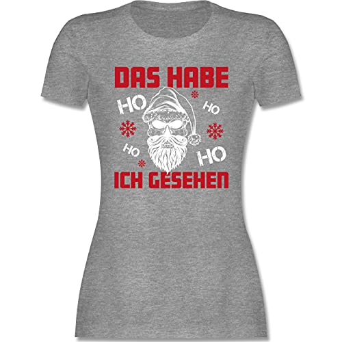 Weihnachten & Silvester - Das Habe ich gesehen Ho Ho Ho - weiß - S - Grau meliert - T-Shirt - L191 - Tailliertes Tshirt für Damen und Frauen T-Shirt